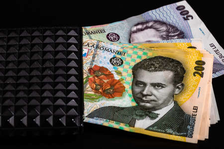 LEI romanian money banknotes in black wallet isolated Imagens