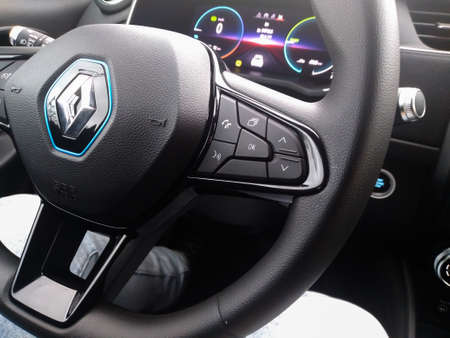 New Renault Zoe electric car interior. Steering wheel with control buttons. Bucharest, Romania, 2021