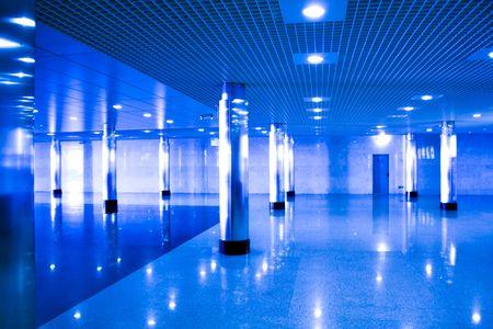 Blue abstract hall platform photo