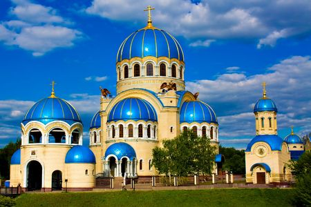 Blue abstract church in Moscow, Russia and bright sky Stock Photo - 4945148