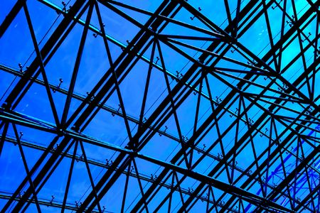 Blue abstract Ceiling in office centre photo