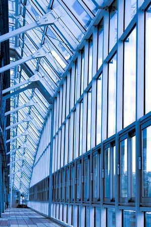 sun roof: Glass corridor in office center Stock Photo