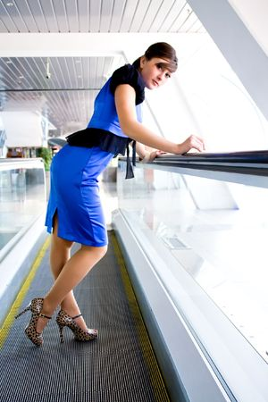 Portrait of a successful young business woman indoor glass corridor Stock Photo - 5092055
