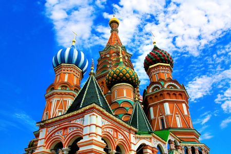 Domes of the famous Head of St. Basil's Cathedral on Red square, Moscow, Russia Stock Photo - 5106372