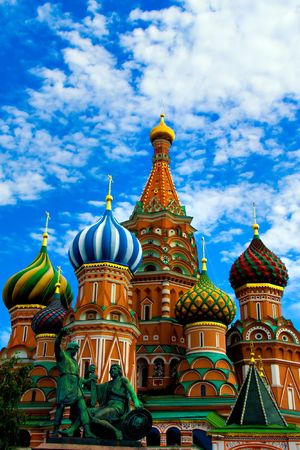 Domes of the famous Head of St. Basil's Cathedral on Red square, Moscow, Russia Stock Photo - 5106369