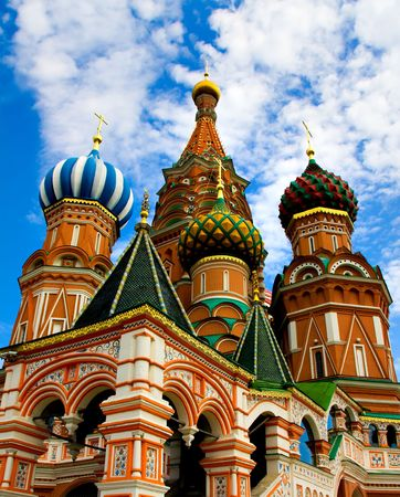 Domes of the famous Head of St. Basil's Cathedral on Red square, Moscow, Russia Stock Photo - 5106373
