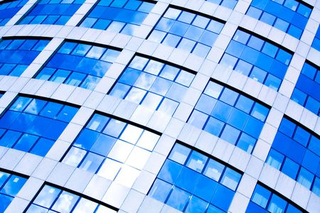 Blue abstract diagonal crop of modern office skyscraper photo