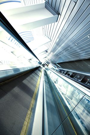 Moving escalator in the office hall perspective view Stock Photo - 5124253