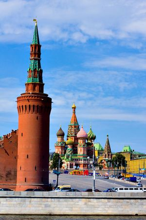 Domes of the famous Head of St. Basil's Cathedral on Red square, Moscow, Russia Stock Photo - 5140331