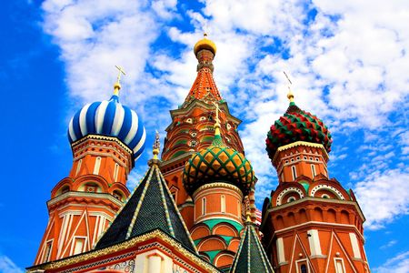 Domes of the famous Head of St. Basil's Cathedral on Red square, Moscow, Russia Stock Photo - 5129726