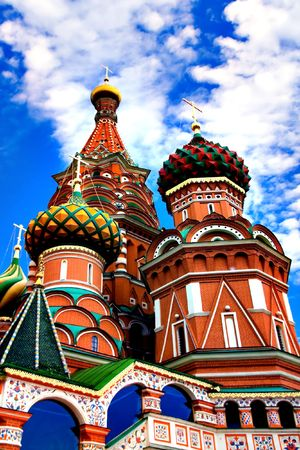 Domes of the famous Head of St. Basil's Cathedral on Red square, Moscow, Russia Stock Photo - 5129727