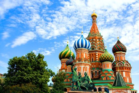 red square moscow: C�pulas del famoso jefe de la Catedral de San Basilio en la Plaza Roja, Mosc�, Rusia Foto de archivo