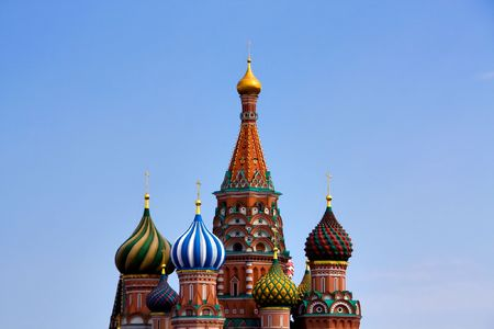 Domes of the famous Head of St. Basil's Cathedral on Red square, Moscow, Russia Stock Photo - 5129715