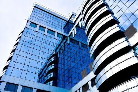 Blue abstract diagonal crop of modern office skyscraper