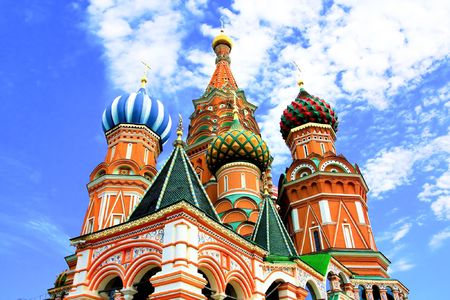 Domes of the famous Head of St. Basil's Cathedral on Red square, Moscow, Russia Stock Photo - 5139802