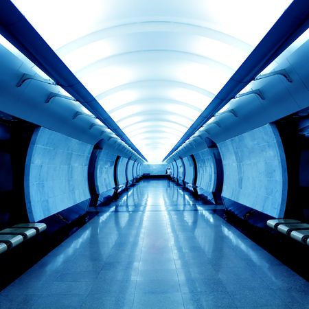 Modern blue hall in metro station photo