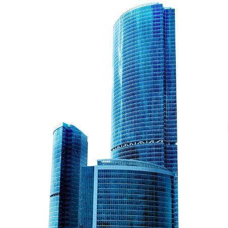 Los rascacielos de Nueva centro de negocios aislados sobre fondo blanco Foto de archivo