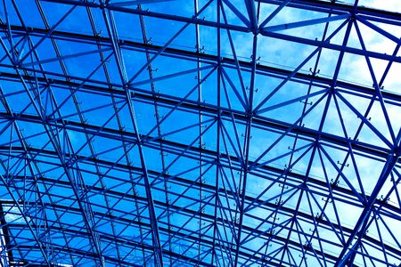 Blue abstract ceiling in office center photo