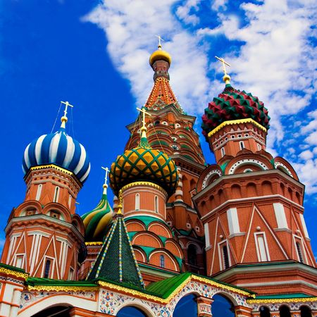 Domes of the famous Head of St. Basil's Cathedral on Red square, Moscow, Russia Stock Photo - 5207267
