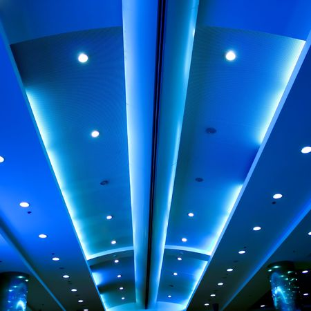 ceiling lamps: modern blue ceiling in the office Stock Photo