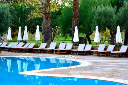 lounges: Beautiful lounges near the pool in Greece