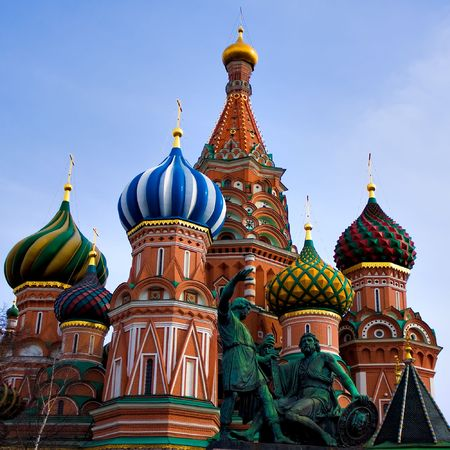 minin: St. Basils Cathedral on Red square, Moscow, Russia Stock Photo