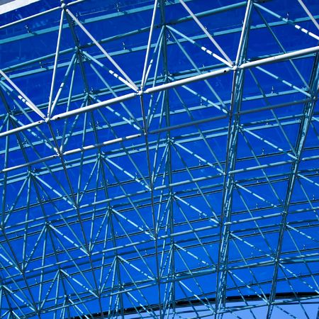 blue geometric ceiling in office center photo