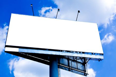 Blank big billboard over blue sky, put your text photo