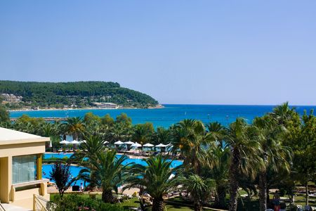 view to Beautiful sea coast in Greece from hotel photo