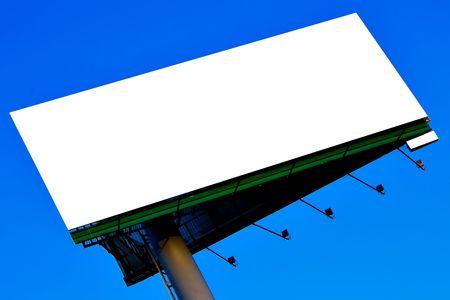 diagonal pillar with big bigboard over blue sky, put your text photo