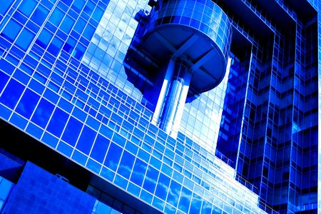 abstract futuristic wall of modern skyscrapers photo