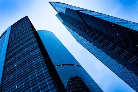 underside view to modern windows of skyscrapers photo