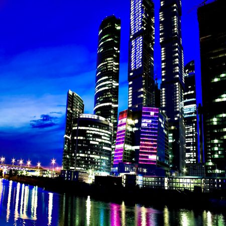violet residential: night city on the river