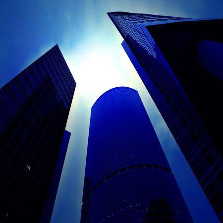 Underside view to business skyscrapers Stock Photo - 5920840