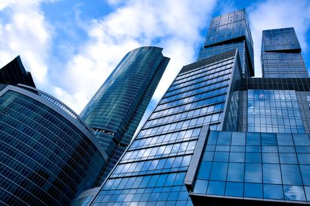 modern geometric skyscrapers photo