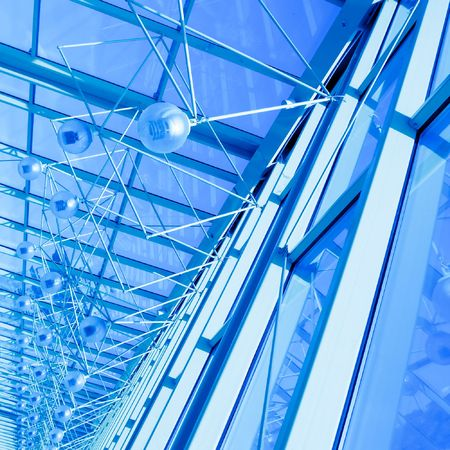 Abstract blue geometric ceiling in office center Stock Photo - 6132370