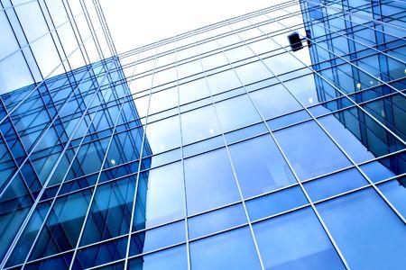beautiful reflection in modern glass wall photo