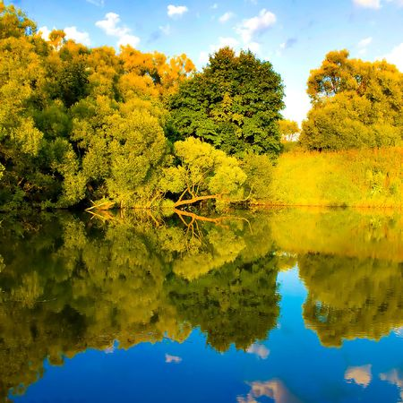 beautiful reflection of landscape in the river photo