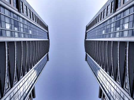 symmetric business skyscrapers