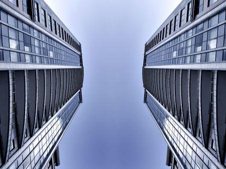 symmetric business skyscrapers photo