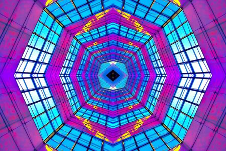 Violet illuminated ceiling indoor shopping mall photo
