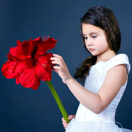 beautiful dreaming girl with bright red flower photo