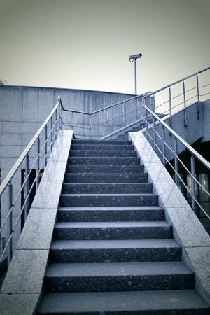 Blue stair in modern office center photo