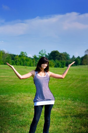 beauty girl stay on the field Stock Photo - 6959920