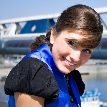 Young pretty smiling business woman photo