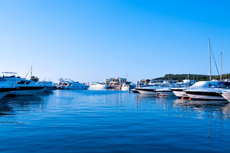 sea port: Luxury yachts in sea port of Greece Stock Photo