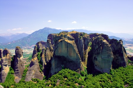 Beautiful rocks Meteora in Greece photo