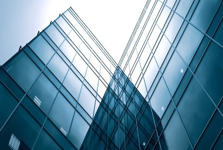 perspective grid: abstract glass side of business building