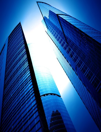 modern glass silhouettes of skyscrapers at night Stock Photo - 7242887