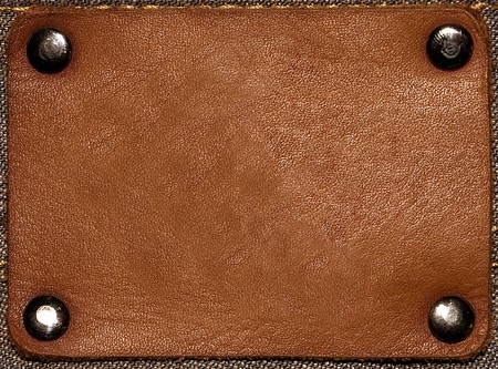 leather stitch: Brown jeans label isolated